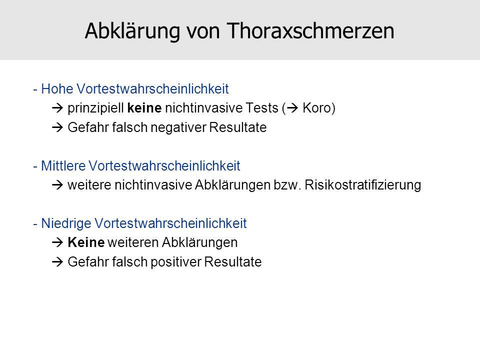 Abklärung von Thoraxschmerzen - Hohe Vortestwahrscheinlichkeit prinzipiell keine nichtinvasive Tests ( Koro) Gefahr falsch negativer Resultate - Mittl