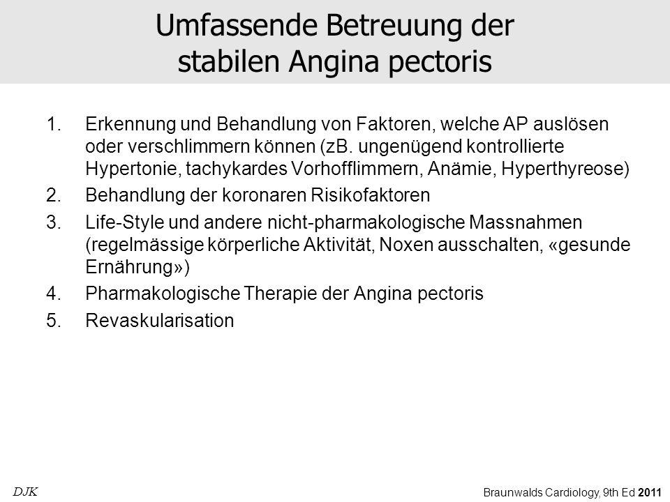 Umfassende Betreuung der stabilen Angina pectoris 1.Erkennung und Behandlung von Faktoren, welche AP auslösen oder verschlimmern können (zB. ungenügen