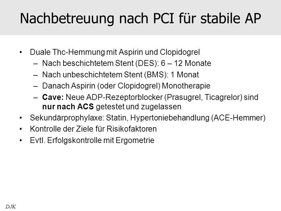 Nachbetreuung nach PCI für stabile AP Duale Thc-Hemmung mit Aspirin und Clopidogrel –Nach beschichtetem Stent (DES): 6 – 12 Monate –Nach unbeschichtet