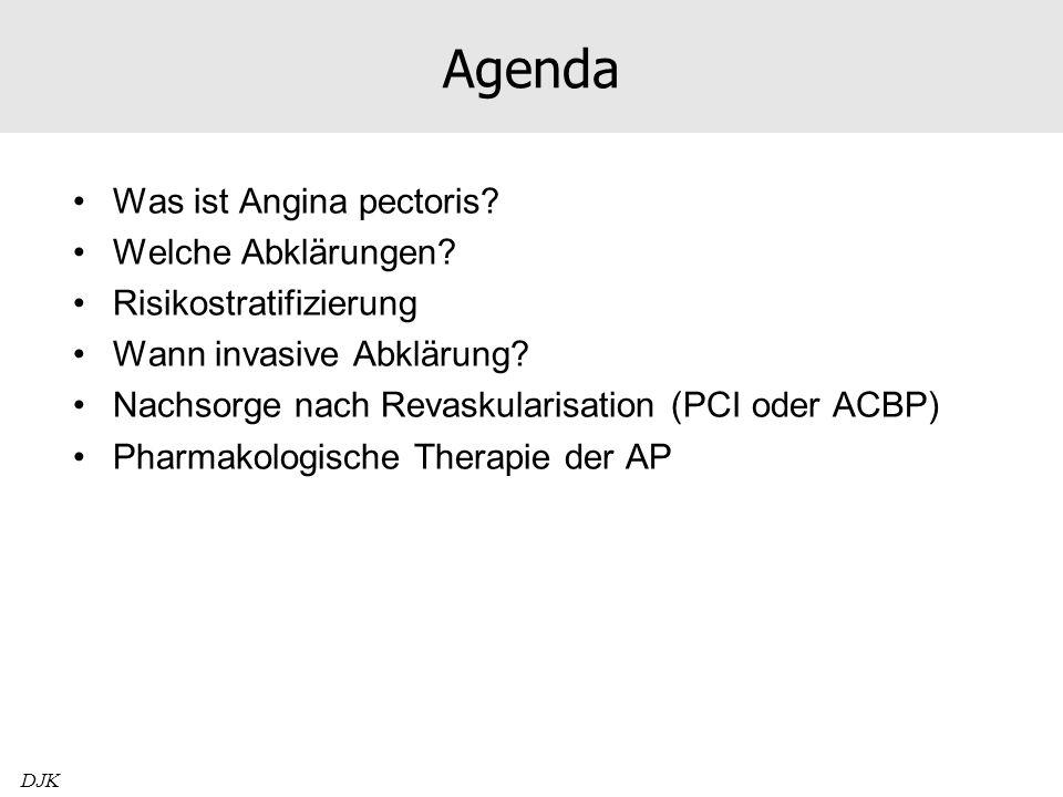 84jähriger Mann mit Angina pectoris CCS II Wegen Angina pectoris PCI RIVA 2005, danach beschwerdefrei Seit 3 Wochen de novo Angina CCS II Bisherige Therapie: –Aspirin 100mg 1-0-0 –Lisinopril-HCT 20/12,5mg 1/2-0-0 –Atorvastatin 40mg 0-0-1/4 Therapieausbau mit Bisoprolol 5mg 1/2-0-0 führt zur Symptomverbesserung, aber weiterhin CCS I-II Zuweisung zur invasiven Abklärung BD 123/58mmHg, HF 44/min