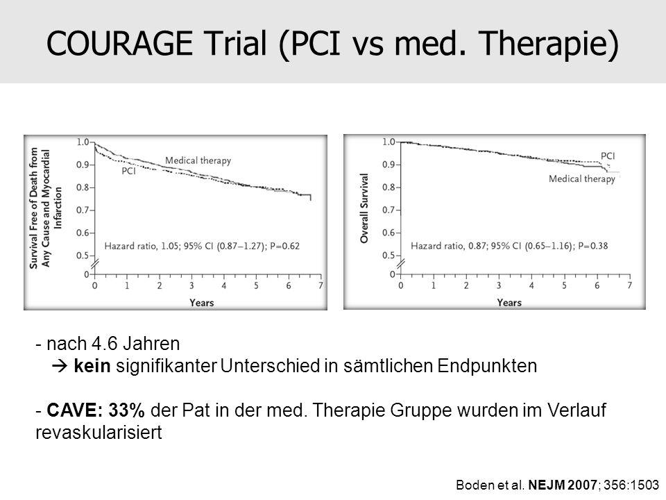 - nach 4.6 Jahren kein signifikanter Unterschied in sämtlichen Endpunkten - CAVE: 33% der Pat in der med. Therapie Gruppe wurden im Verlauf revaskular