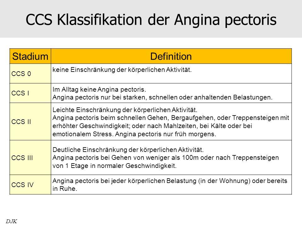 CCS Klassifikation der Angina pectoris StadiumDefinition CCS 0 keine Einschränkung der körperlichen Aktivität. CCS I Im Alltag keine Angina pectoris.