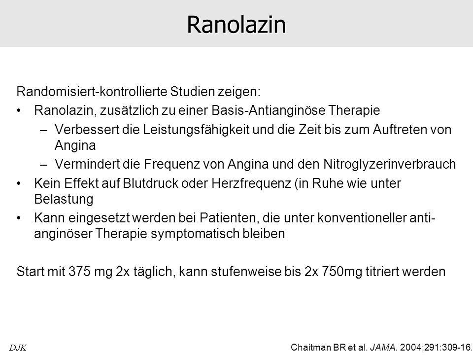 DJKRanolazin Randomisiert-kontrollierte Studien zeigen: Ranolazin, zusätzlich zu einer Basis-Antianginöse Therapie –Verbessert die Leistungsfähigkeit