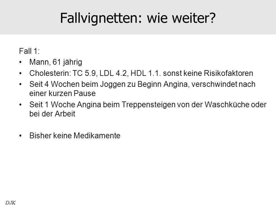 Fallvignetten: wie weiter? Fall 1: Mann, 61 jährig Cholesterin: TC 5.9, LDL 4.2, HDL 1.1. sonst keine Risikofaktoren Seit 4 Wochen beim Joggen zu Begi
