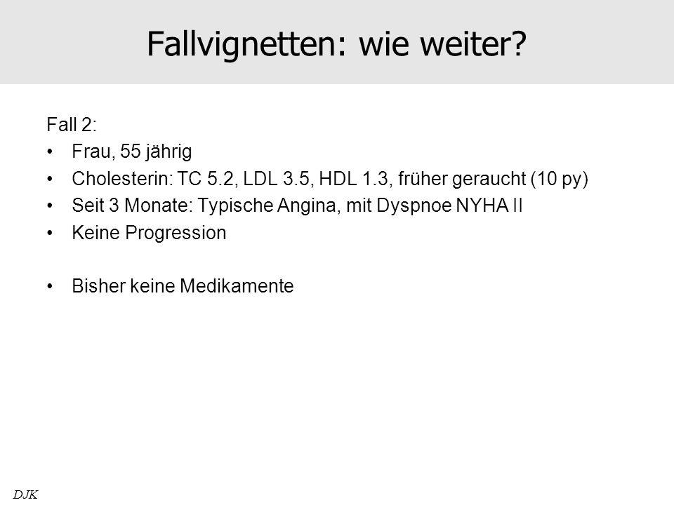 Fallvignetten: wie weiter? Fall 2: Frau, 55 jährig Cholesterin: TC 5.2, LDL 3.5, HDL 1.3, früher geraucht (10 py) Seit 3 Monate: Typische Angina, mit