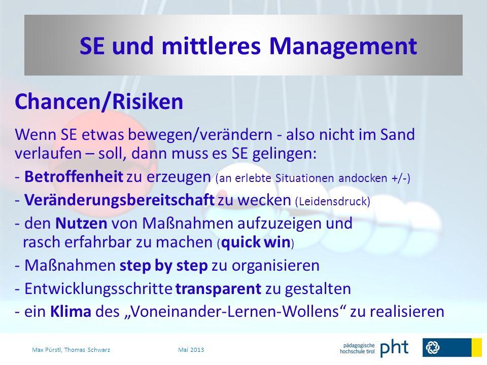 Chancen/Risiken Wenn SE etwas bewegen/verändern - also nicht im Sand verlaufen – soll, dann muss es SE gelingen: - Betroffenheit zu erzeugen (an erleb