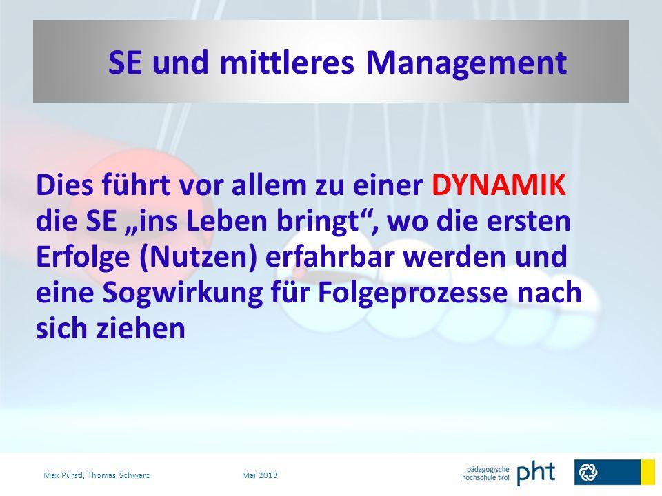 Dies führt vor allem zu einer DYNAMIK die SE ins Leben bringt, wo die ersten Erfolge (Nutzen) erfahrbar werden und eine Sogwirkung für Folgeprozesse n
