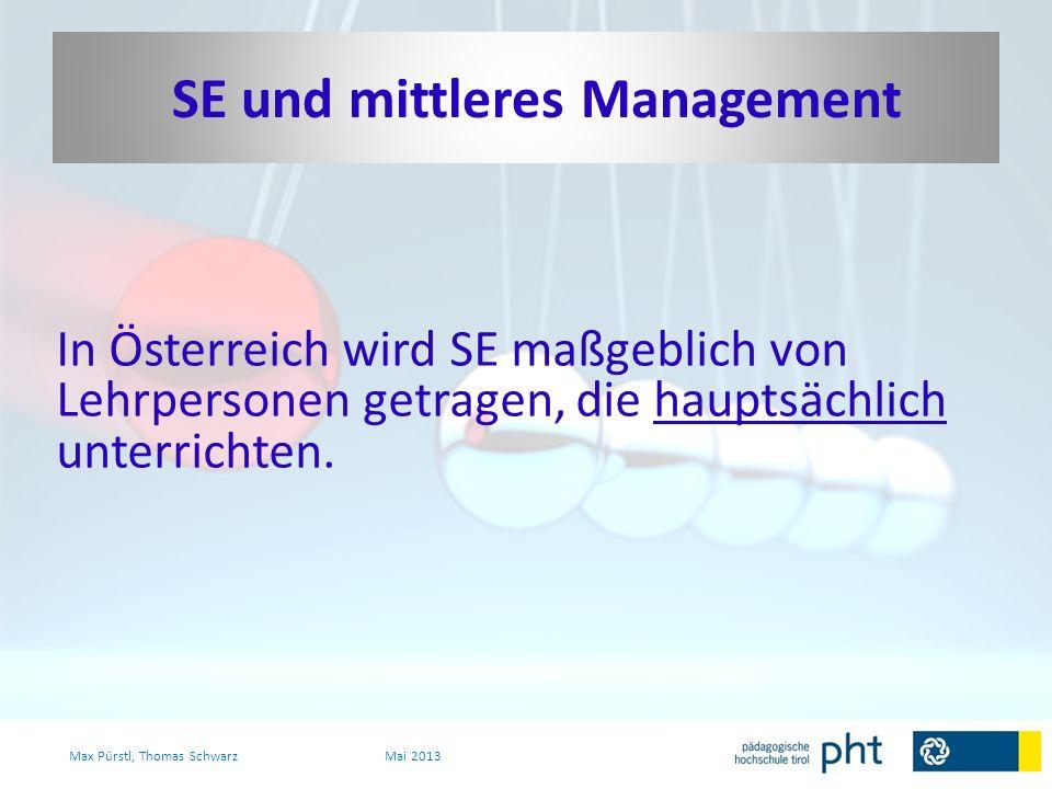 In Österreich wird SE maßgeblich von Lehrpersonen getragen, die hauptsächlich unterrichten. Max Pürstl, Thomas SchwarzMai 2013