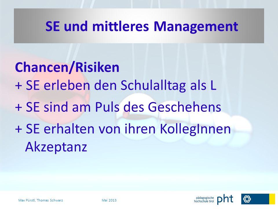 Chancen/Risiken + SE erleben den Schulalltag als L + SE sind am Puls des Geschehens + SE erhalten von ihren KollegInnen Akzeptanz Max Pürstl, Thomas S