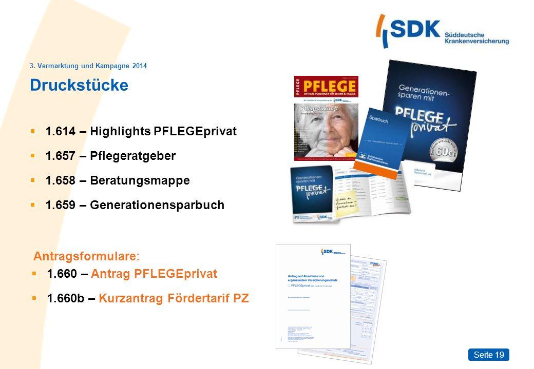 Seite 19 Druckstücke 1.614 – Highlights PFLEGEprivat 1.657 – Pflegeratgeber 1.658 – Beratungsmappe 1.659 – Generationensparbuch 3. Vermarktung und Kam