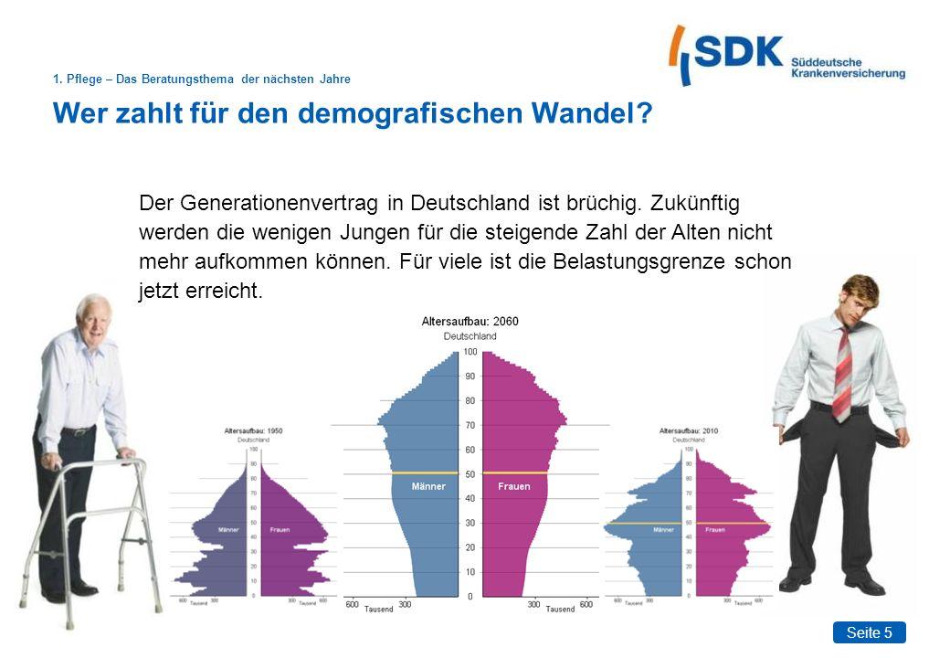 Seite 5 Der Generationenvertrag in Deutschland ist brüchig. Zukünftig werden die wenigen Jungen für die steigende Zahl der Alten nicht mehr aufkommen