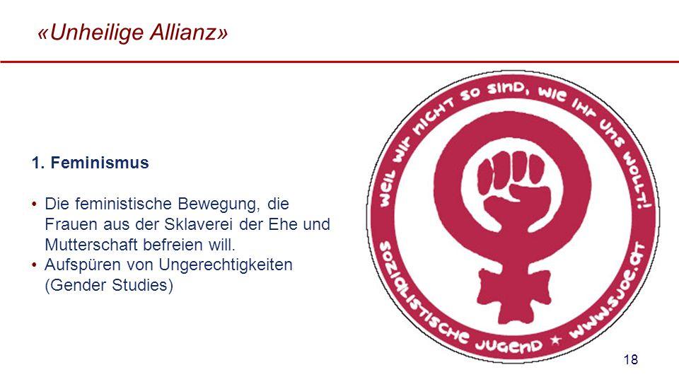 «Unheilige Allianz» 1. Feminismus Die feministische Bewegung, die Frauen aus der Sklaverei der Ehe und Mutterschaft befreien will. Aufspüren von Unger