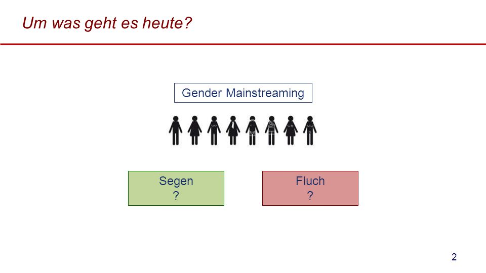 Um was geht es heute? Segen ? Gender Mainstreaming Fluch ? 2