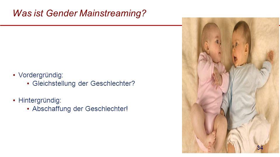 Was ist Gender Mainstreaming? Vordergründig: Gleichstellung der Geschlechter? Hintergründig: Abschaffung der Geschlechter! 34