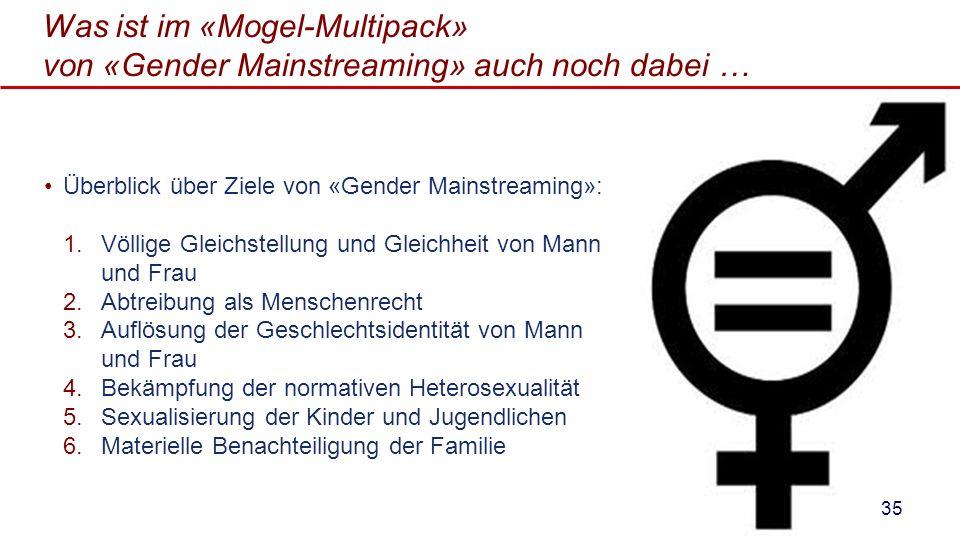 Was ist im «Mogel-Multipack» von «Gender Mainstreaming» auch noch dabei … Überblick über Ziele von «Gender Mainstreaming»: 1.Völlige Gleichstellung un