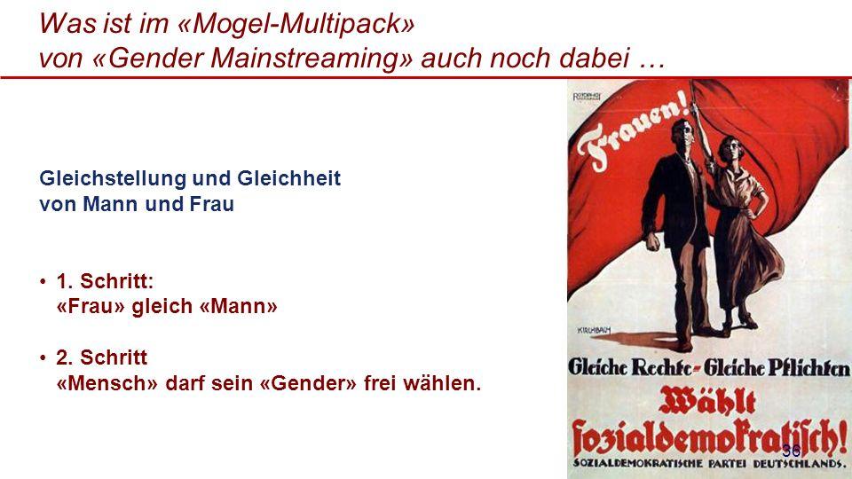 Was ist im «Mogel-Multipack» von «Gender Mainstreaming» auch noch dabei … Gleichstellung und Gleichheit von Mann und Frau 1. Schritt: «Frau» gleich «M