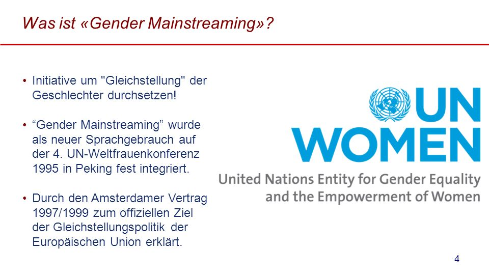 Was ist «Gender Mainstreaming»? Initiative um