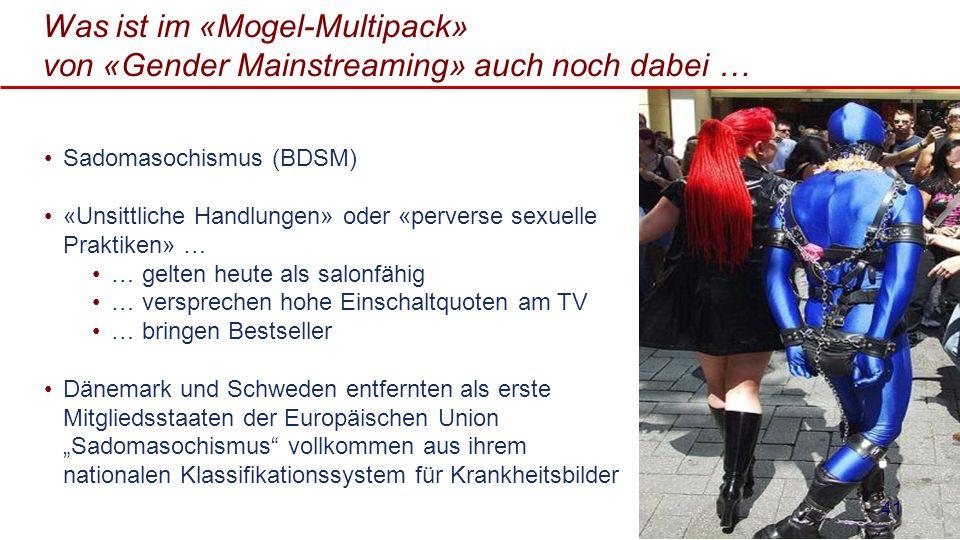 Was ist im «Mogel-Multipack» von «Gender Mainstreaming» auch noch dabei … Sadomasochismus (BDSM) «Unsittliche Handlungen» oder «perverse sexuelle Prak