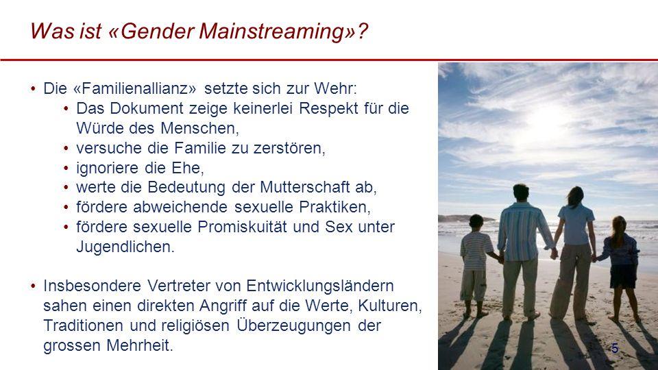 Was ist «Gender Mainstreaming»? Die «Familienallianz» setzte sich zur Wehr: Das Dokument zeige keinerlei Respekt für die Würde des Menschen, versuche