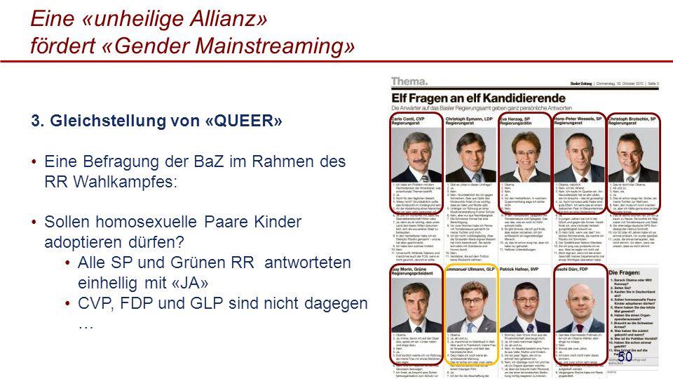 Eine «unheilige Allianz» fördert «Gender Mainstreaming» 3. Gleichstellung von «QUEER» Eine Befragung der BaZ im Rahmen des RR Wahlkampfes: Sollen homo