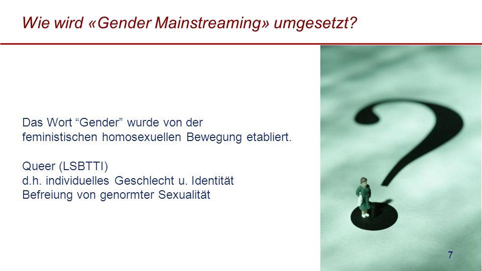 Wie wird «Gender Mainstreaming» umgesetzt? Das Wort Gender wurde von der feministischen homosexuellen Bewegung etabliert. Queer (LSBTTI) d.h. individu