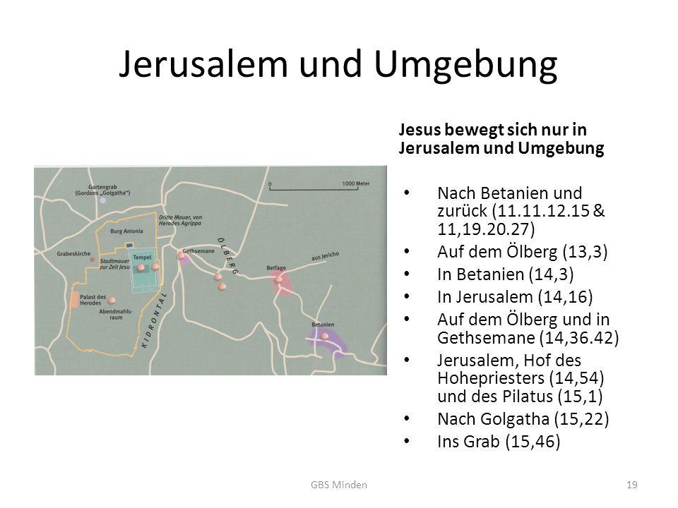 Jerusalem und Umgebung Jesus bewegt sich nur in Jerusalem und Umgebung Nach Betanien und zurück (11.11.12.15 & 11,19.20.27) Auf dem Ölberg (13,3) In Betanien (14,3) In Jerusalem (14,16) Auf dem Ölberg und in Gethsemane (14,36.42) Jerusalem, Hof des Hohepriesters (14,54) und des Pilatus (15,1) Nach Golgatha (15,22) Ins Grab (15,46) GBS Minden19