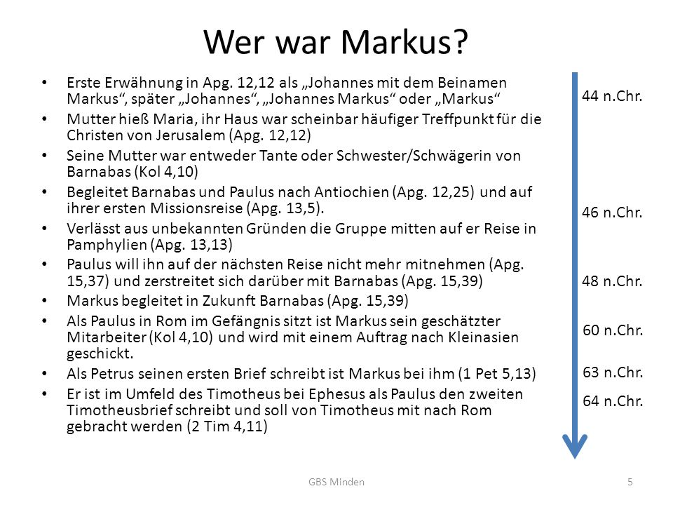 Wer war Markus.Erste Erwähnung in Apg.