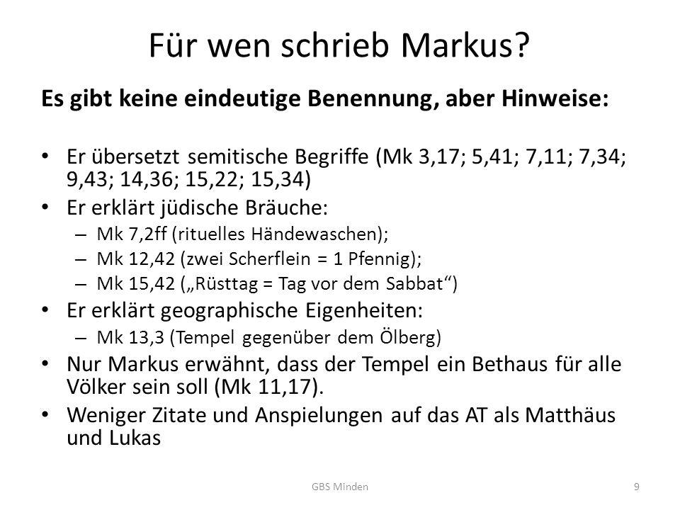 Für wen schrieb Markus.