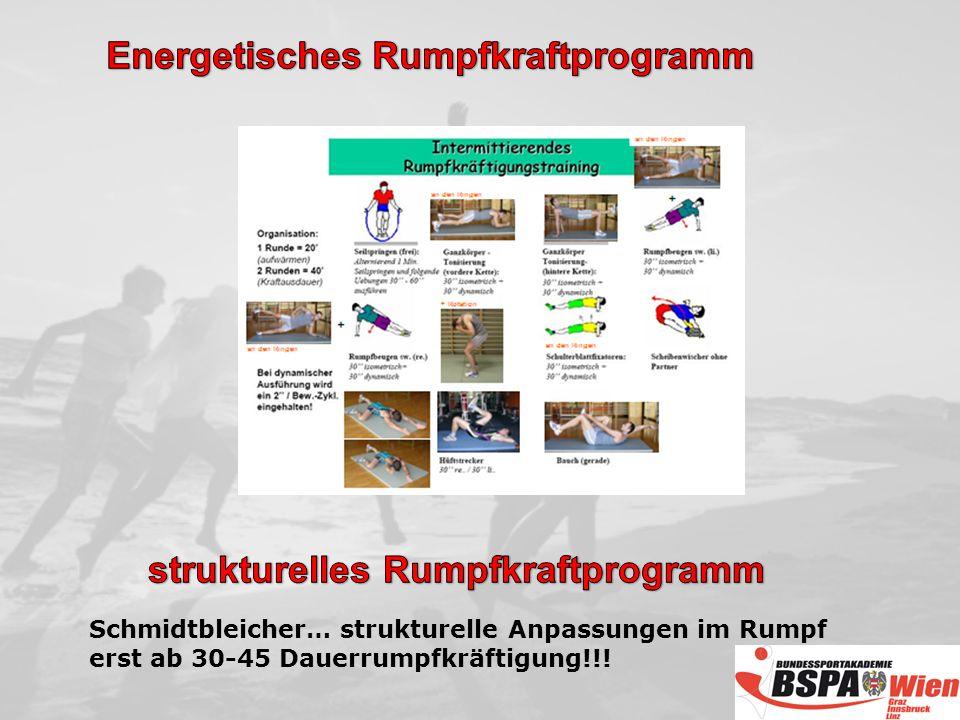 Schmidtbleicher… strukturelle Anpassungen im Rumpf erst ab 30-45 Dauerrumpfkräftigung!!!