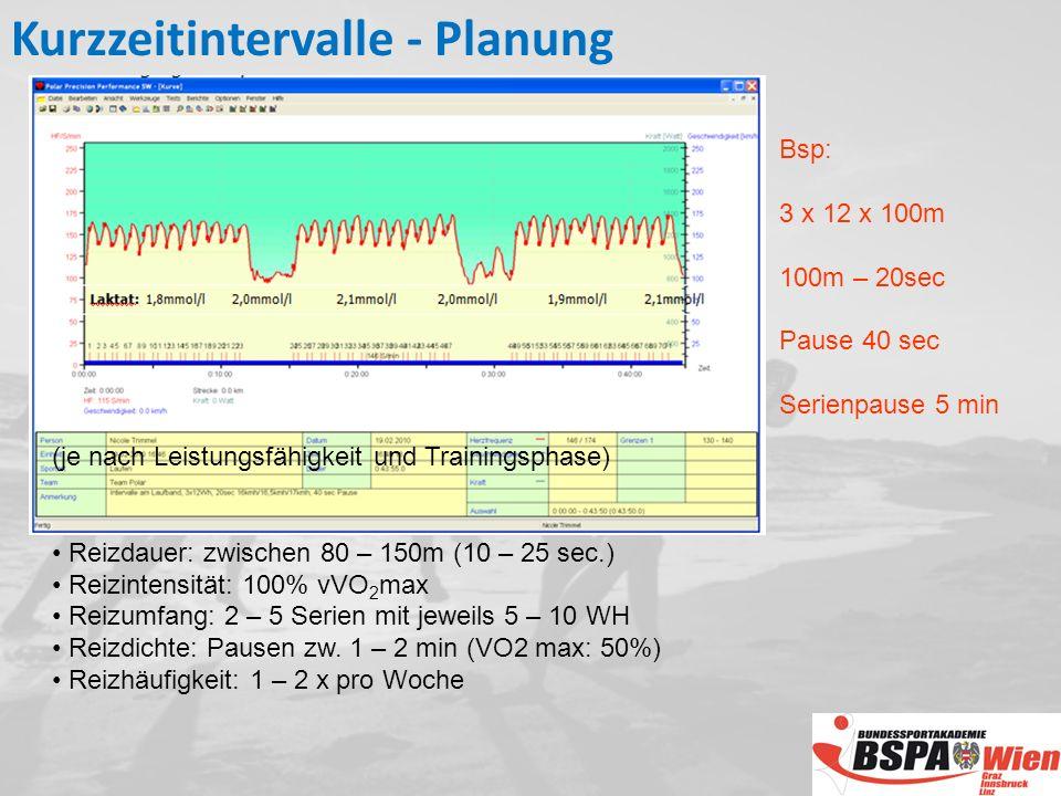 Bsp: 3 x 12 x 100m 100m – 20sec Pause 40 sec Serienpause 5 min (je nach Leistungsfähigkeit und Trainingsphase) Reizdauer: zwischen 80 – 150m (10 – 25 sec.) Reizintensität: 100% vVO 2 max Reizumfang: 2 – 5 Serien mit jeweils 5 – 10 WH Reizdichte: Pausen zw.