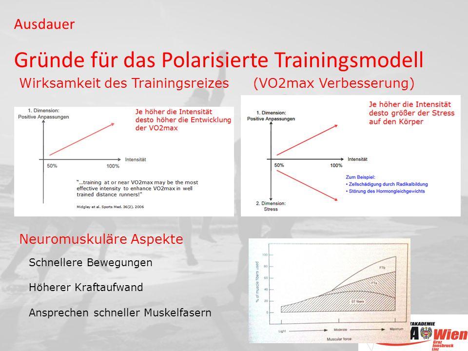 Wirksamkeit des Trainingsreizes (VO2max Verbesserung) Neuromuskuläre Aspekte Schnellere Bewegungen Höherer Kraftaufwand Ansprechen schneller Muskelfasern Ausdauer Gründe für das Polarisierte Trainingsmodell