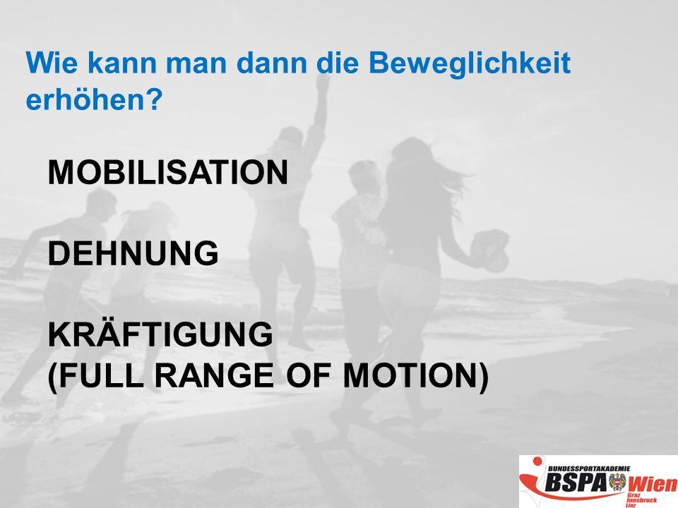 MOBILISATION DEHNUNG KRÄFTIGUNG (FULL RANGE OF MOTION) Wie kann man dann die Beweglichkeit erhöhen?