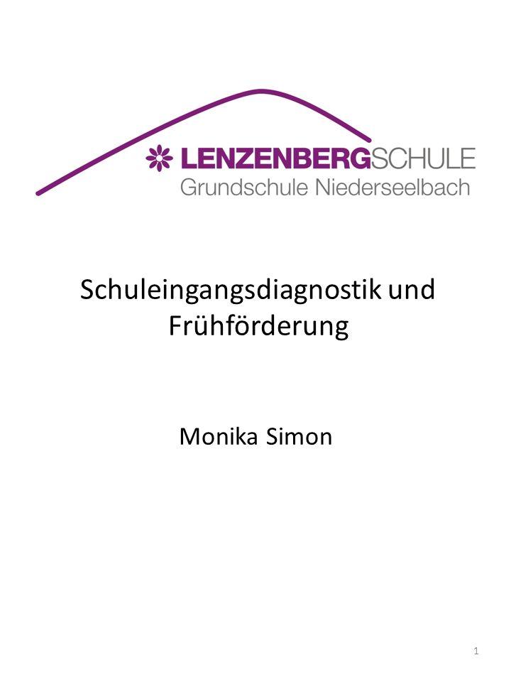 Schuleingangsdiagnostik und Frühförderung Monika Simon 1