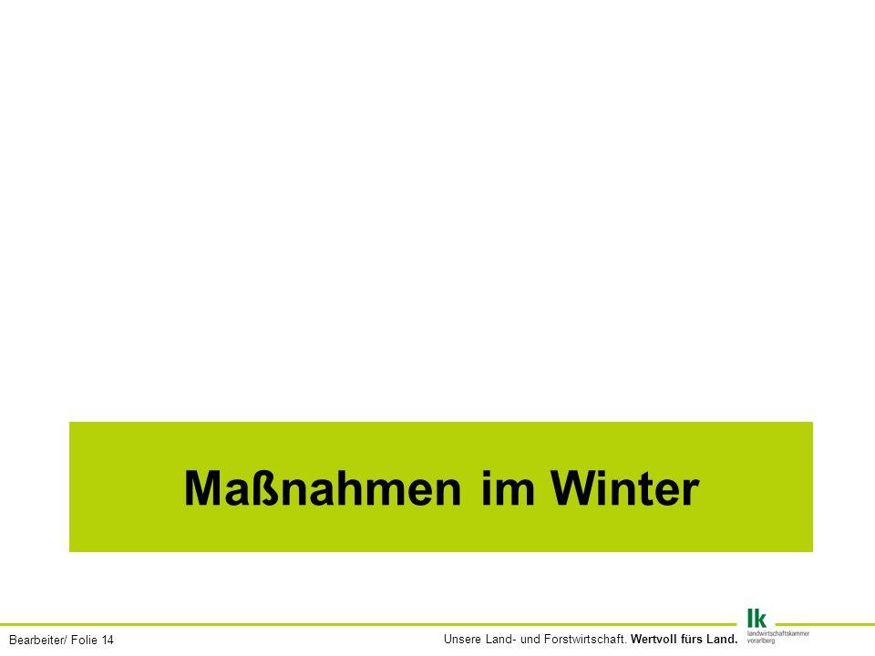 Bearbeiter/ Folie 14 Unsere Land- und Forstwirtschaft. Wertvoll fürs Land. Maßnahmen im Winter