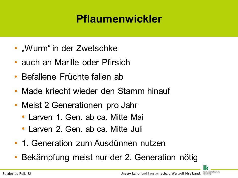 Bearbeiter/ Folie 32 Unsere Land- und Forstwirtschaft.