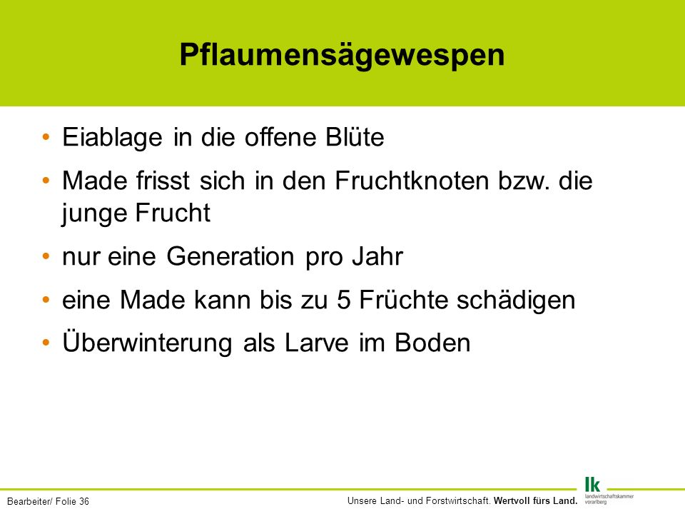 Bearbeiter/ Folie 36 Unsere Land- und Forstwirtschaft.