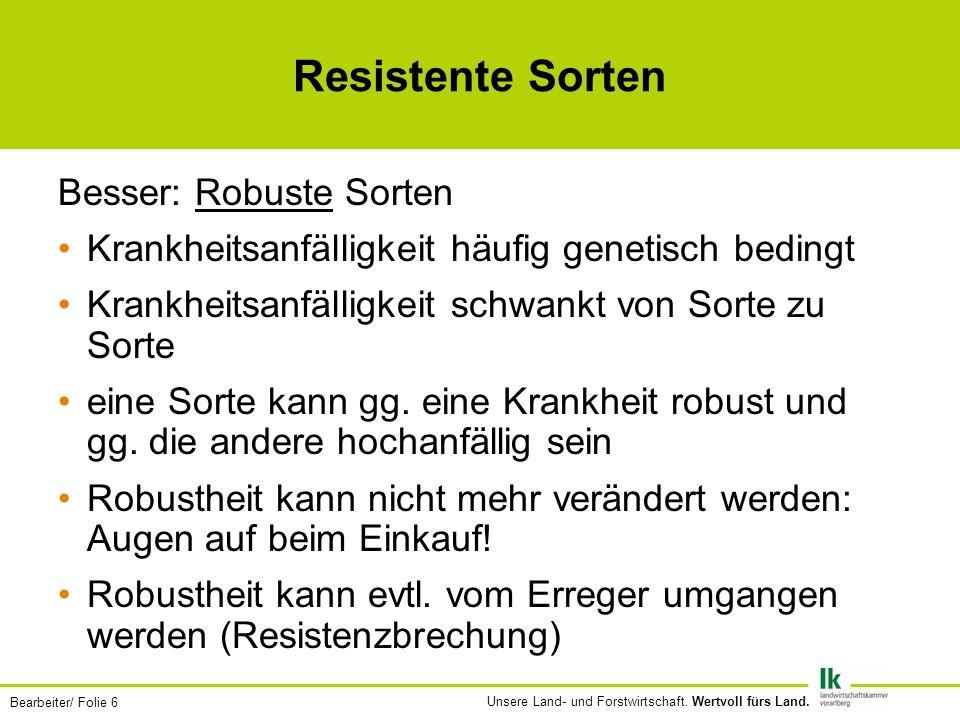 Bearbeiter/ Folie 7 Unsere Land- und Forstwirtschaft.