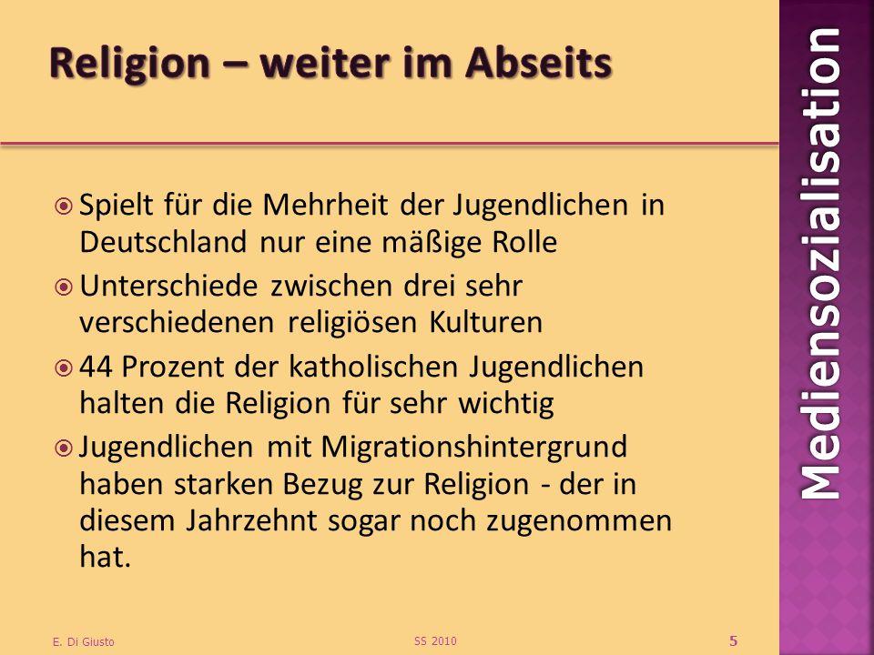 Spielt für die Mehrheit der Jugendlichen in Deutschland nur eine mäßige Rolle Unterschiede zwischen drei sehr verschiedenen religiösen Kulturen 44 Prozent der katholischen Jugendlichen halten die Religion für sehr wichtig Jugendlichen mit Migrationshintergrund haben starken Bezug zur Religion - der in diesem Jahrzehnt sogar noch zugenommen hat.