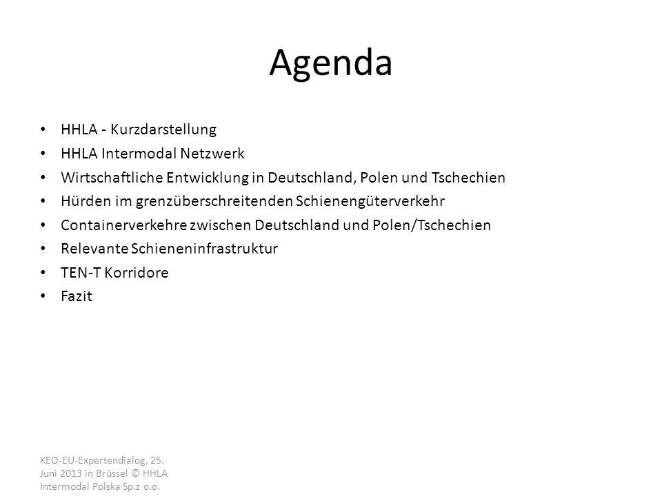 Agenda HHLA - Kurzdarstellung HHLA Intermodal Netzwerk Wirtschaftliche Entwicklung in Deutschland, Polen und Tschechien Hürden im grenzüberschreitenden Schienengüterverkehr Containerverkehre zwischen Deutschland und Polen/Tschechien Relevante Schieneninfrastruktur TEN-T Korridore Fazit KEO-EU-Expertendialog, 25.