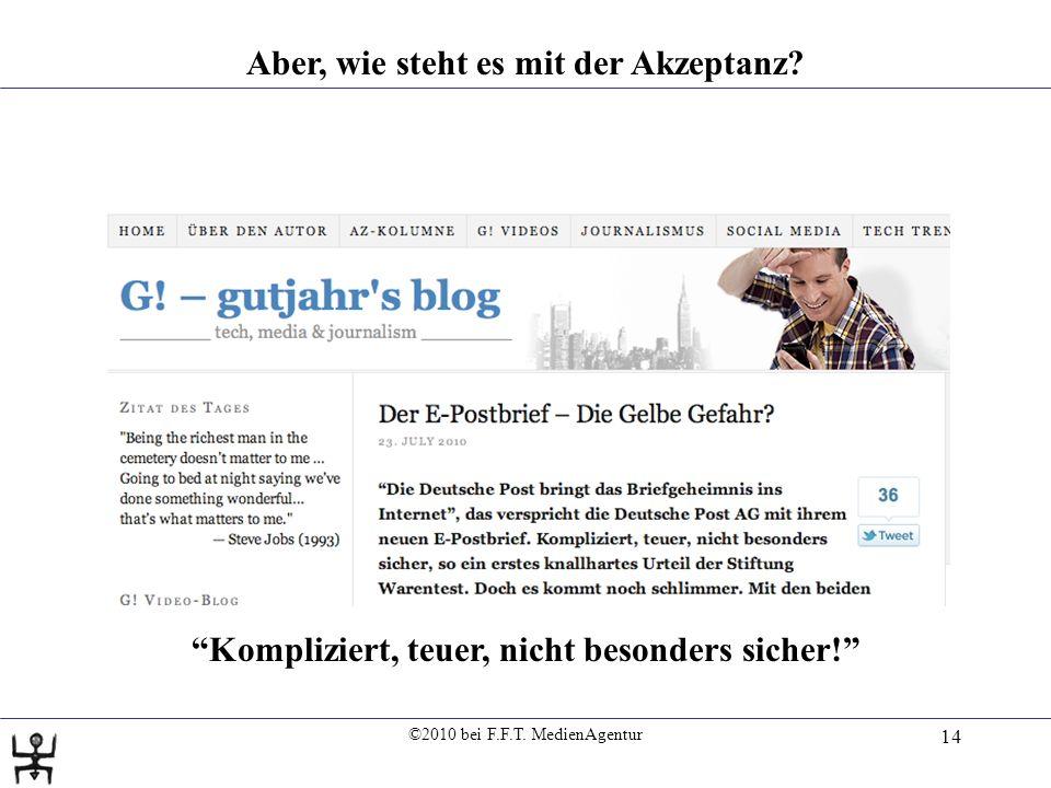 ©2010 bei F.F.T. MedienAgentur 14 Aber, wie steht es mit der Akzeptanz.