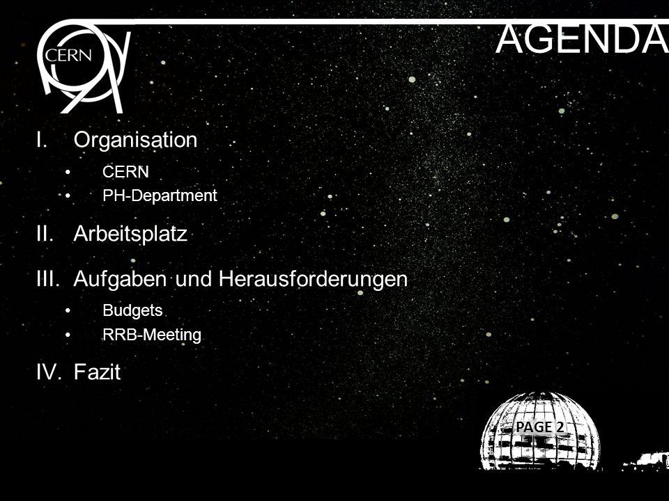 AGENDA I.Organisation CERN PH-Department II.Arbeitsplatz III.Aufgaben und Herausforderungen Budgets RRB-Meeting IV.Fazit
