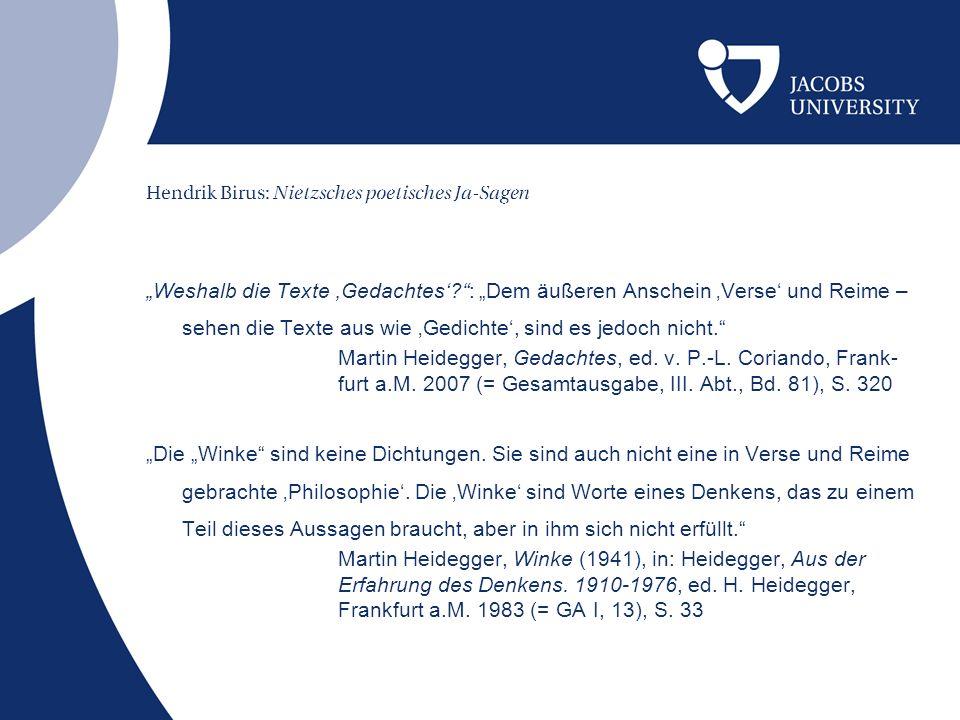 Hendrik Birus: Nietzsches poetisches Ja-Sagen rein geschieden bleiben sie [sc.
