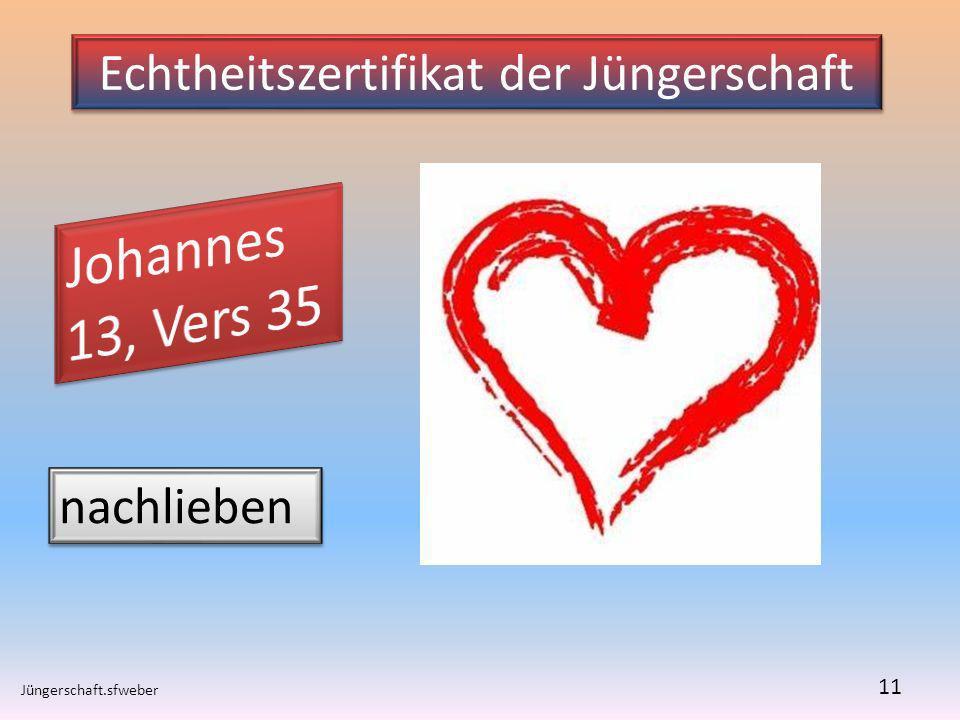Echtheitszertifikat der Jüngerschaft Jüngerschaft.sfweber 11 nachlieben