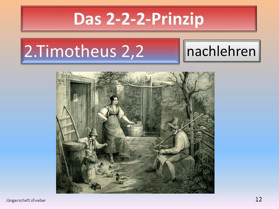 Das 2-2-2-Prinzip Jüngerschaft.sfweber 12 2.Timotheus 2,2 nachlehren