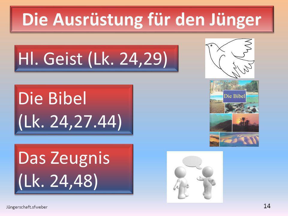 Die Ausrüstung für den Jünger Jüngerschaft.sfweber 14 Hl. Geist (Lk. 24,29) Die Bibel (Lk. 24,27.44) Die Bibel (Lk. 24,27.44) Das Zeugnis (Lk. 24,48)