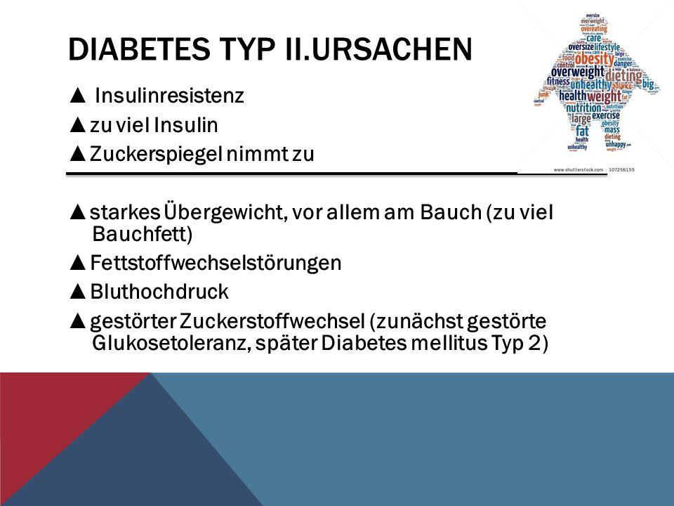 DIABETES TYP II.URSACHEN Insulinresistenz zu viel Insulin Zuckerspiegel nimmt zu starkes Übergewicht, vor allem am Bauch (zu viel Bauchfett) Fettstoff