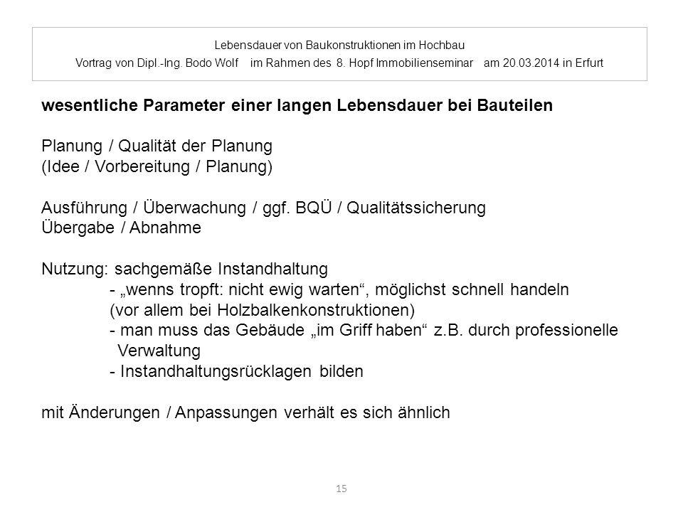 Lebensdauer von Baukonstruktionen im Hochbau. Vortrag von Dipl.-Ing. Bodo Wolf im Rahmen des 8. Hopf Immobilienseminar am 20.03.2014 in Erfurt wesentl