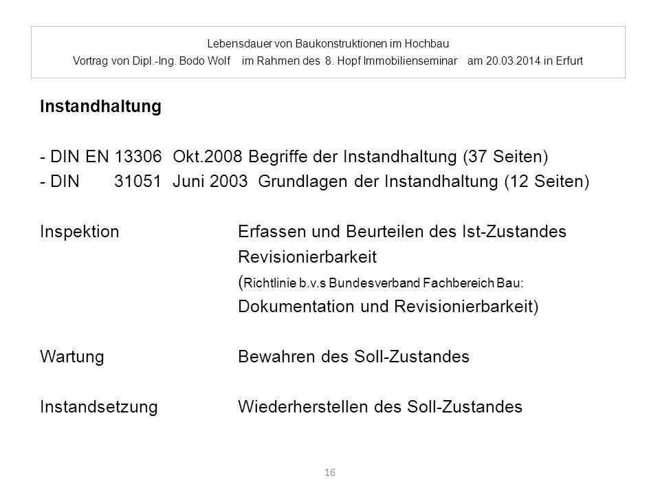Lebensdauer von Baukonstruktionen im Hochbau. Vortrag von Dipl.-Ing. Bodo Wolf im Rahmen des 8. Hopf Immobilienseminar am 20.03.2014 in Erfurt Instand