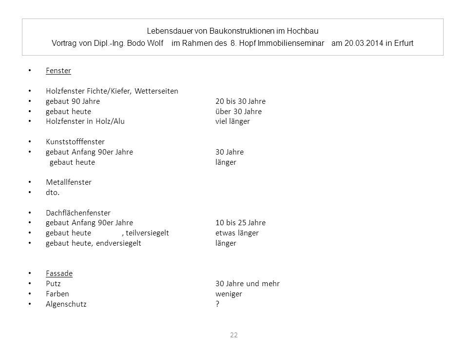 Lebensdauer von Baukonstruktionen im Hochbau. Vortrag von Dipl.-Ing. Bodo Wolf im Rahmen des 8. Hopf Immobilienseminar am 20.03.2014 in Erfurt Fenster
