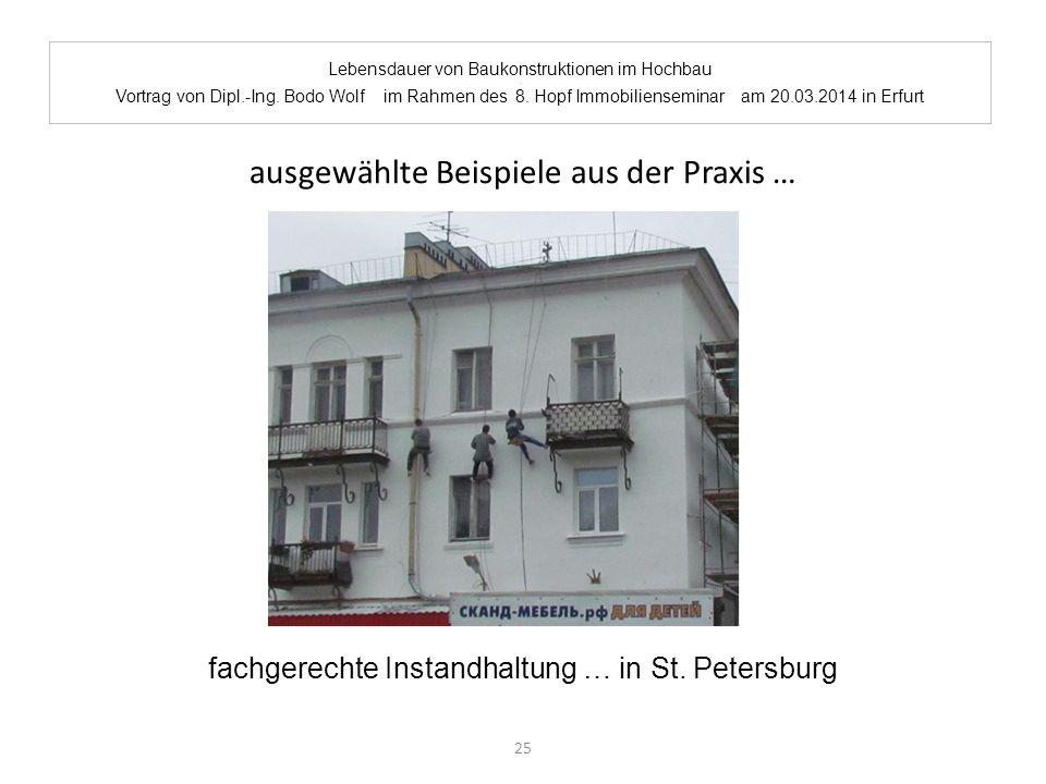 Lebensdauer von Baukonstruktionen im Hochbau. Vortrag von Dipl.-Ing. Bodo Wolf im Rahmen des 8. Hopf Immobilienseminar am 20.03.2014 in Erfurt ausgewä